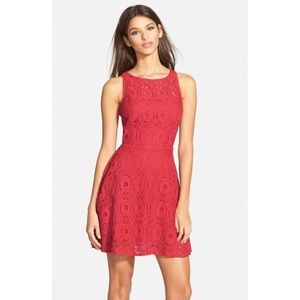 NEW BB Dakota watermelon colored lace dress